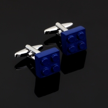 Luxury Fashion Unique Blue bricks Cufflinks 3 D Solid form cufflinks for mens Brand cuff buttons cuff links High Quality Jewelr(China)