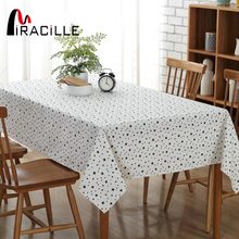 Miracille Dustproof Tablecloth Star Print Cotton Linen Table Cover Fabric Classical Modern White Black Wedding Home Decoration