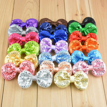20pcs/lot 20colors Girls Sequins Bows Without Clip For Headband Kids  DIY Crafts Hair Accessories