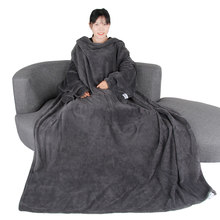 Big Super Soft Throw Blanket Long Shaggy Fuzzy Fur Warm Elegant Cozy With Fluffy Sherpa With Large Sleeves For Air Fonditioning(China)