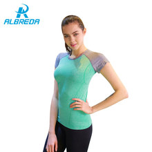 ALBREDA Women Breathable Yoga T-shirt Gym Workout Tees Summer Fitness Running Sports Shirt Clothing Female Quick dry Sportswear(China)