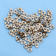 100pcs Blank Mini Hollow Wooden Heart Embellishments Crafts Wedding Decor 10mm MAY4(China)