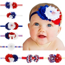 Naturalwell Patriotic Red White and Blue Headband Shabby Flower Headbands Newborn Hairband girls Flower Wedding Photo Prop HB533(China)