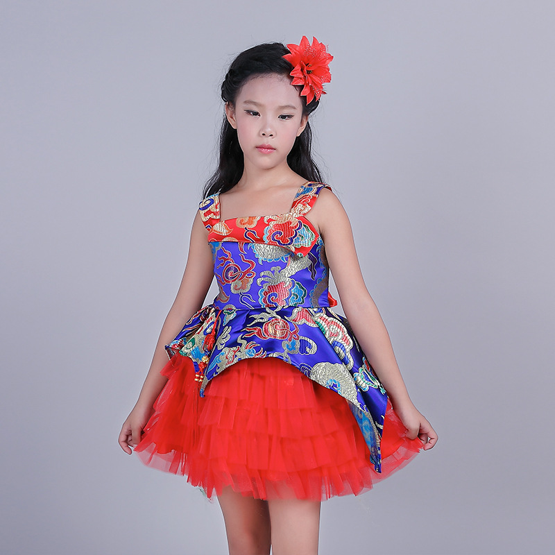 2017 Girl Chinese Style Dress Printing Princess Dress Childrens Garment Christmas <br><br>Aliexpress