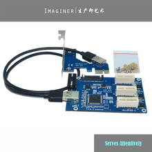 PCI E 1 To 3 PCI Express 1X Slots Riser Card Mini ITX To External 3 PCI-E Slot Adapter PCIe Port Multiplier Card VER005