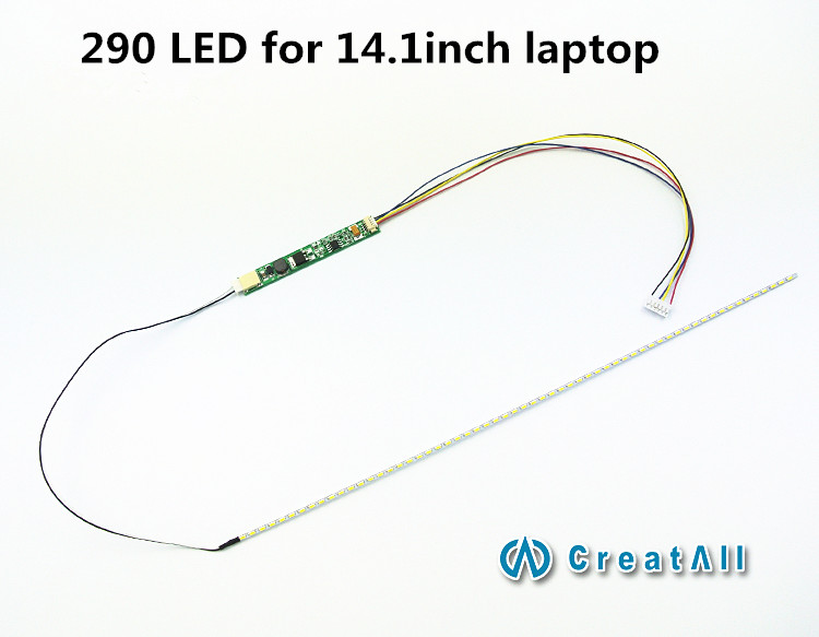 290mm Adjustable brightness led backlight strip kit,Update your 14.1inch laptop ccfl lcd to led panel screen(China)