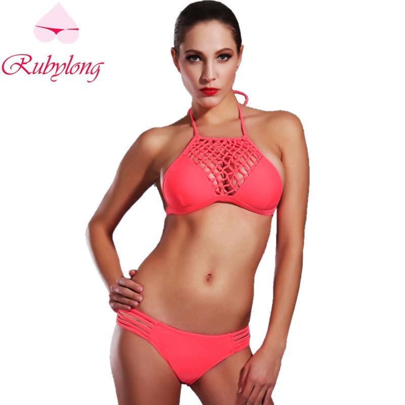 Rubylong Sexy Bikini Swimwear 2017 Women Ladies Brazilian Halter Bandage Push Up Red Swimsuit Bathing Suit Bikinis Set Biquini<br><br>Aliexpress