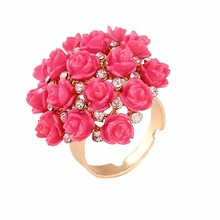 2017 new products colorido ring Rose bague femme Romantic rings Flower composition Alloy Fabrication jewellery anel masculino(China)