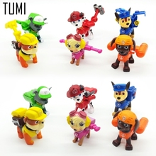 6 Pcs New Canine Patrol Dog Toys Russian Anime Doll Action Figures Car Patrol Puppy Toy Patrulla Canina Juguetes Gift P026