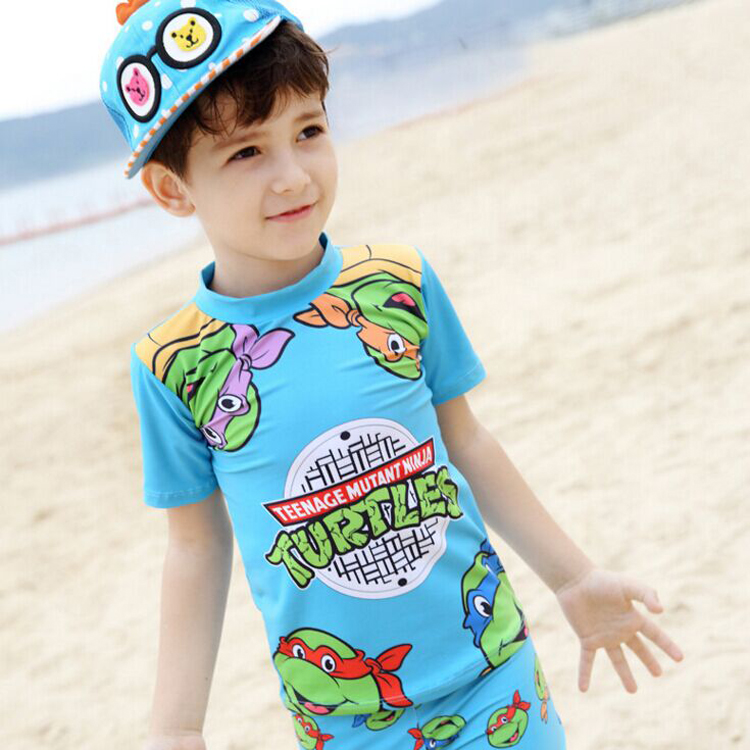 boys clothing sets3pieces rash guard turtle fused Childrens costumes short sleeve boy beachwear bathing swimwear rash guard cap<br><br>Aliexpress