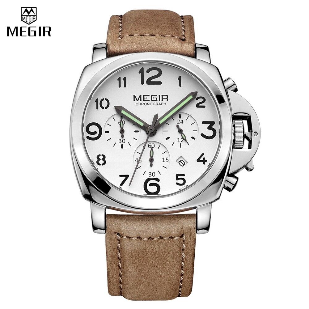 Original MEGIR Mens Chronograph Waterproof Leather Band Watches Military Sport Analog Quartz Auto Date Digital Watches<br>