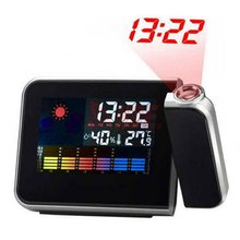 Black Digital Weather Forecast Clock Snooze Temperature and Humidity Projection Alarm Clock Calendar Led Backlight AA