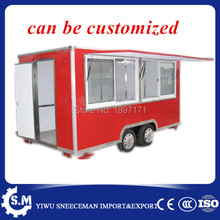 chinese mobile food trailer cart large Square food truck with windows(China)