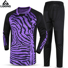 New Quick Dry Boys Kids Youth Soccer Training jersey set suits Goalkeeper Jerseys Survetement football 2017 Goal keeper Uniforms(China)