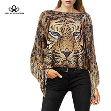 2016 autumn winter vintage lion head leopard print pullover knitted cape Poncho with tassels fringed sweater
