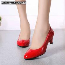 The High-heeled Shoes Black Feet Thick With Shallow Cover Occupation Code Red Wedding New Work(China)