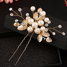 6 PCS Handmade Accessories Vintage Gold Leaf Flower Hair Sticks Wedding Pearl Hair Pins Bridal Large Crystal Hair Clip Headpiece(China)
