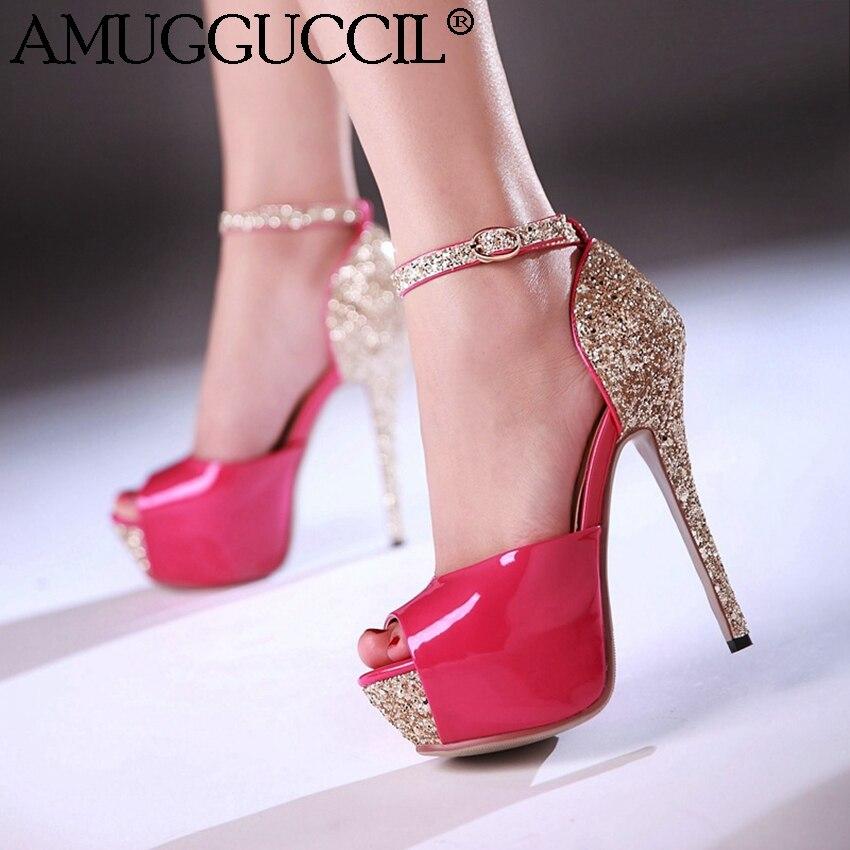 2017 New Plus Big Size 32-43 Black Peach White Gold Silver Party Wedding High Heel Platform Summer Girl Lady Women Sandals L848<br>