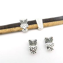 For 10mm flat leather slider Antique sliver owl slider jewelry finding supplies D-1-10-90(Portugal)