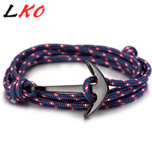 LKO 2017 HOT  Alloy Anchor Bracelet Multilayer Rope Bracelet for Women&Men Friendship Bracelets High Quality tom hope