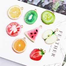 New Style 10PCS Enamel Alloy Fruit Pendant Charms Gold Tone Plated Watermelon Apple Lemon Strawberry Orange Kiwi Fruits Charm
