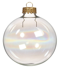 Promotion - DIY Paintable Iridescent/Rainbow Christmas Ornament Decoration 66mm Glass Ball With Gold Top, 5/Pack