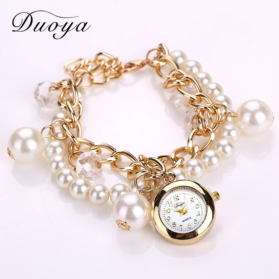 Gold Pearls Crystal Luxury Bracelet Quartz Watches Fashion Women Dress Casual Wristwatch Business Vintage Cartoon Sport Watch<br><br>Aliexpress