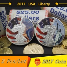 2 Pcs /Lot USA Liberty Coin 2017 Silver Challenge Coins Statue Of Liberty & Grand Canyon Colorado Free Shipping