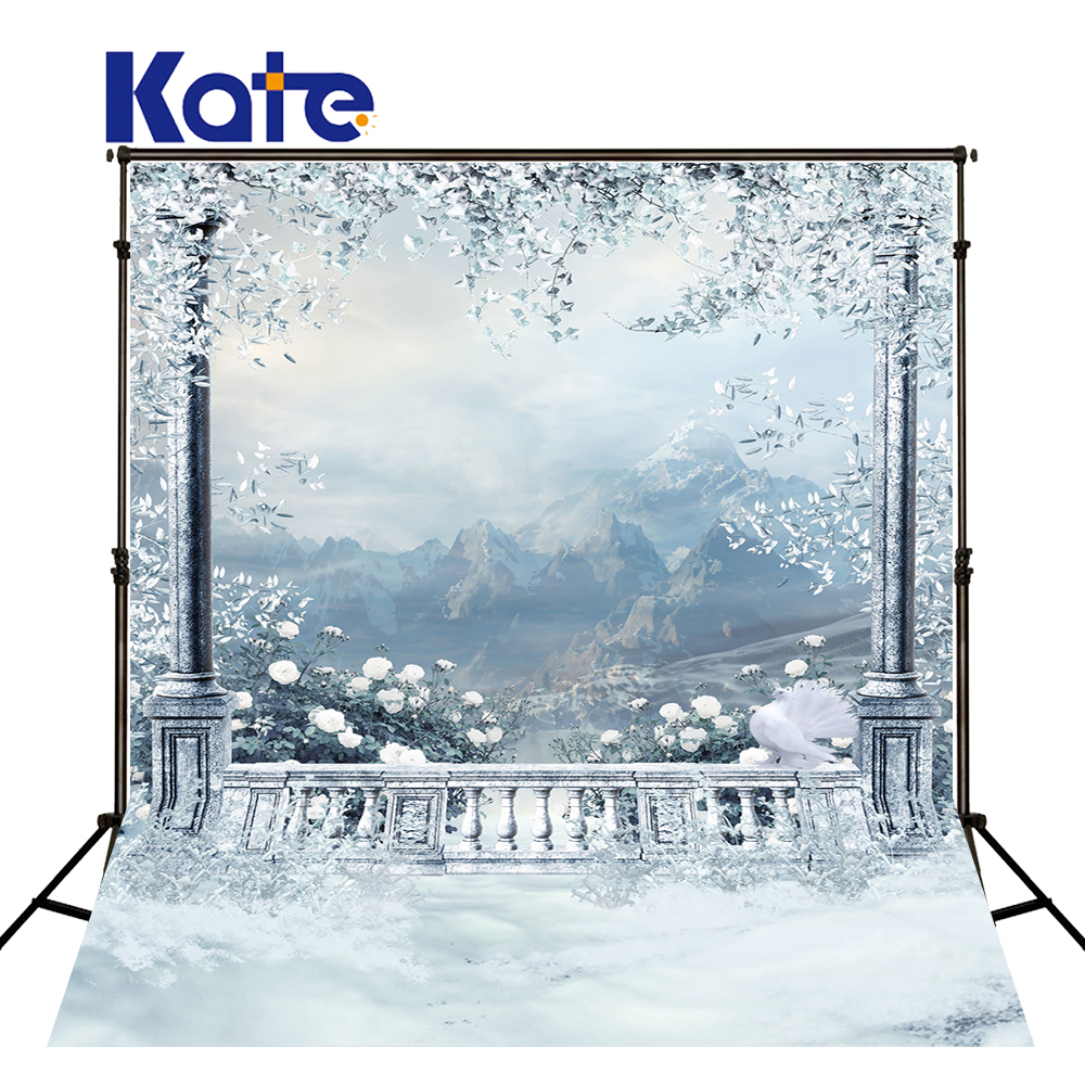 Kate Winter Snow Balcony White Flower Background Outdoor Wedding Backdrop Large Size Seamless Photo For Photography Studio<br>