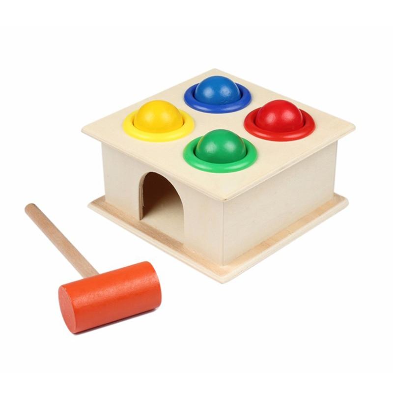 Kids Hammering Ball Hammer Box Montessori Educational Wooden Fun Playing Toy 8C