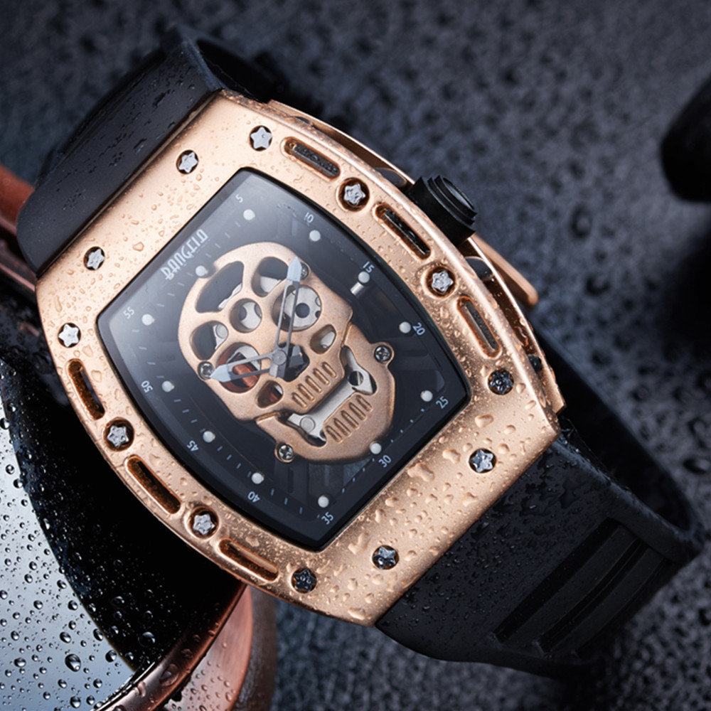 BAOGELA New Skull Men Watches Military Silicone Brand Pirate Hollow Watch Men Luminous Sports Wristwatch Relogio Masculino<br>