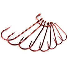 20PCS Red / Bleeding / Blood Carolina Rig Worm Hook Non Offset J Bend Worm Fish Hook for Bass Fishing Size 6 4 2 1 1/0 2/0 4/0