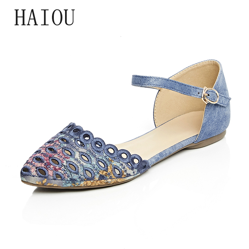 HAIOU 2017 New Covering Sandals Sexy Pointed Toe Elegant Casual Shoes Buckle Women Flat Heel Sandals  Embroidery Sandals Hollow<br>