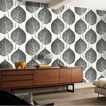 Modern Fashion Style  Large Leaf Pattern Design Wallpaper Creative Black Blue 3D Leaf Design For Walls For Living Room Bedroom