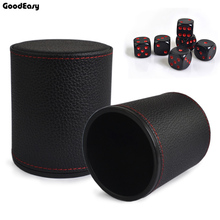 Buy Hot VSOP Leather+Plastic Dice Cup Set 6pcs Acrylic dices Polyhedral Dice Cup Poker Drinking Board Game Gambling Dice Box for $2.35 in AliExpress store