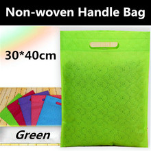 200pcs 30cm(W)*40cm(H) Fashion Green Quincunx Embossing Non woven Shopping Bag, Non Woven Bags with Free Shipping by TNT