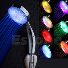 Colorful LED Light Stainless Steel Round Rain Bathroom Shower Head #D7834#