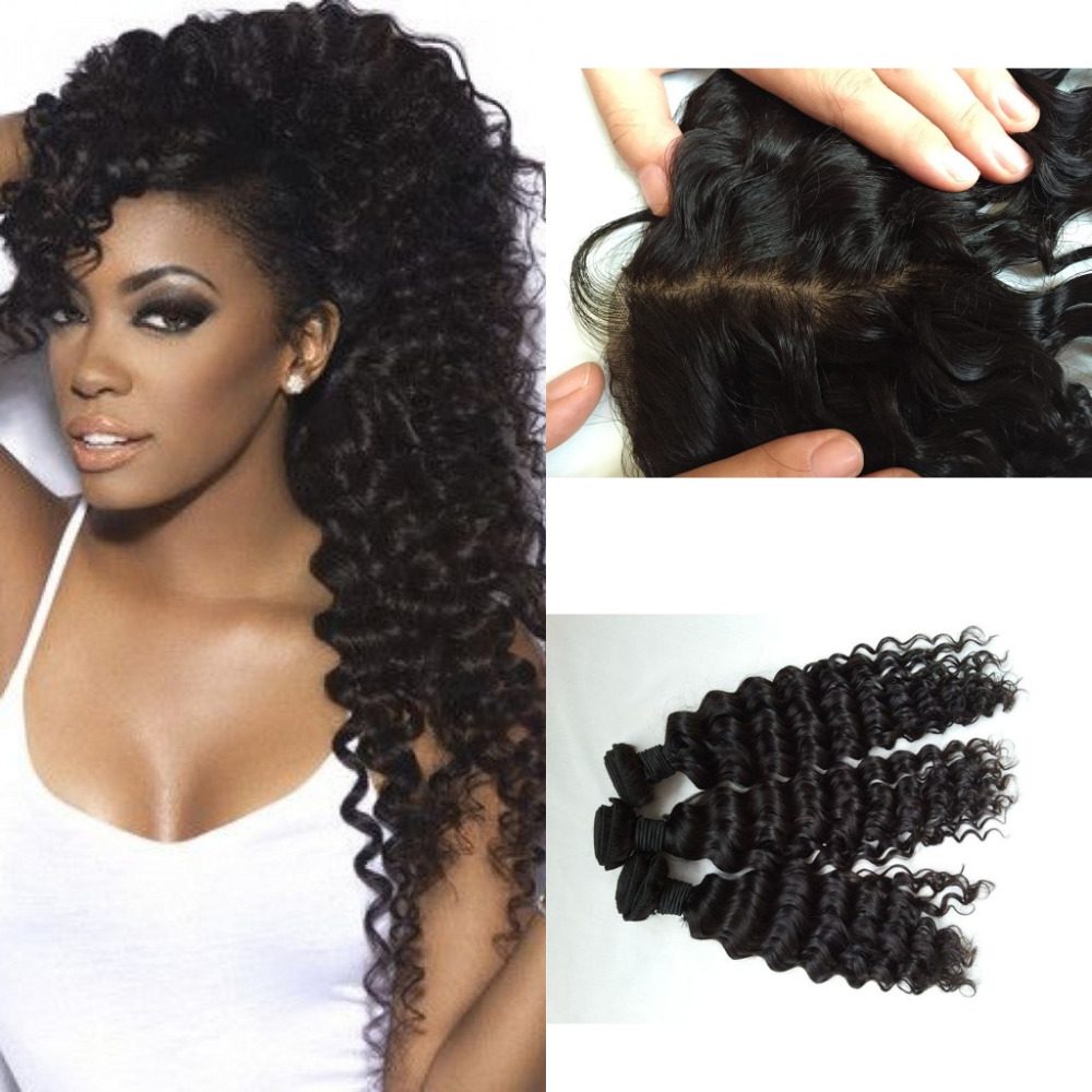 Top 8A Mink Peruvian Virgin Hair With Closure Peruvian Deep Curly Wave Ear To Ear Silk Lace Frontal Closure With Bundles<br><br>Aliexpress