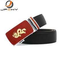 {JPQHY} Men's Genuine Leather Belts Chinese Red and Golden Dragon Alloy Automatic Buckle Gentlemen's Fashion Strap jmg066