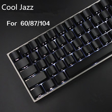 Cool Jazz Front/Side Printed Backlit Keycaps Black 104/87 Cherry MX Keycaps For Tenkeyless 87/104/108 Mechanical Gaming Keyboard(China)