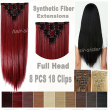 SUPER SALE 100% Real Natural Hair Extentions Clip in on Hair Extensions Full Head 18Clips 66CM Straight Hair 8 Piece as remy