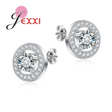 JEXXI Women Recommend Stud Earring Jewelry 925 Sterling Silver Round Colorful Stone Good Quality 2017