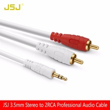 JSJ High End Jack 3.5mm Stereo Male to 2RCA Male Professional Audio Y Cable for Home Theatre PA System Amplifier Speaker Musical(China)