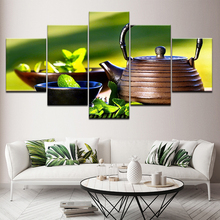 Buy Canvas Wall Art Pictures Modular Frame 5 Pieces China Pot Green Tea Leaf Painting Modular HD Prints Poster Living Room Decor for $5.92 in AliExpress store