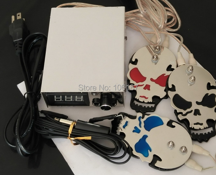 Hot Arrival Tattoo Power Supply With Tattoo Clip cord  Skull Type Tattoo Foot Pedal(3colors for choice) For Tattoo Power Supply <br>