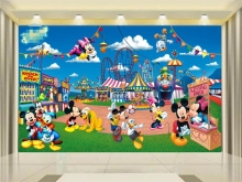 3d photo wallpaper custom kids mural living room cartoon mickey mouse painting TV background wall sticker wallpaper for walls 3d