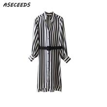 c188cecab3 Winter white stripe long dress women chrismas dress Casual sashes office  shirt dress robe noel femme 2018 long sleeve vestidos