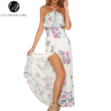 Buy Lily Rosie Girl Sexy Halter Boho Pink Floral Print Ruffles Dress Women Shoulder Summer Beach Maxi Long Dresses Vestidos