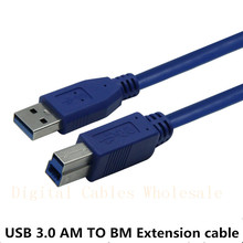 High Quality Blue USB 3.0 A Male AM to USB 3.0 B Type Male BM Extension Printer Wire Cable USB3.0 Cable 0.3m 1m 1.5m 3M 5M