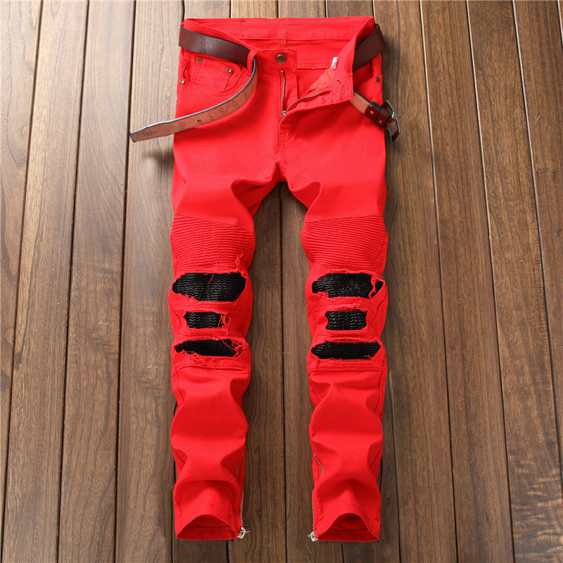 Biepa Mens Hi Street Ripped Biker Jeans Pants With Ankle Zipper Straight Stretch Red Motorcycle Denim Trousers Leather Patchwork 9